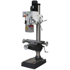 Column drilling machine with gearbox and cross table