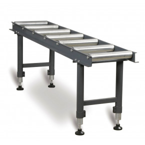 Roller conveyor adjustable in height