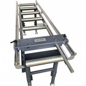 Roller conveyor with graduated stop
