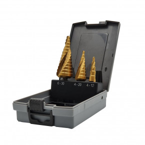 HSS step drill set with TIN coating